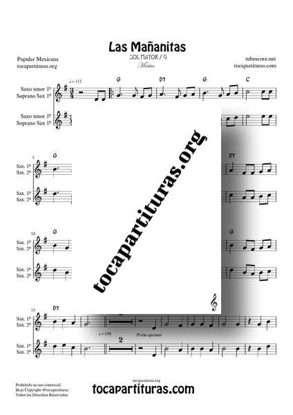 Las Mañanitas Partitura Dúo de Saxo Tenor y Soprano Sax (1ª y 2ª) a dos voces