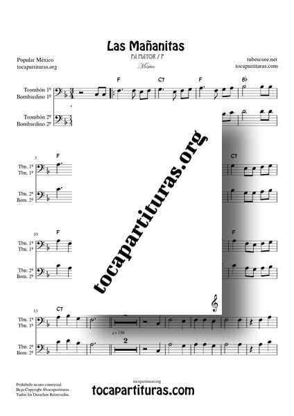 Las Mañanitas Partitura Dúo de Trombón y Bombardino (1ª y 2ª) a dos voces