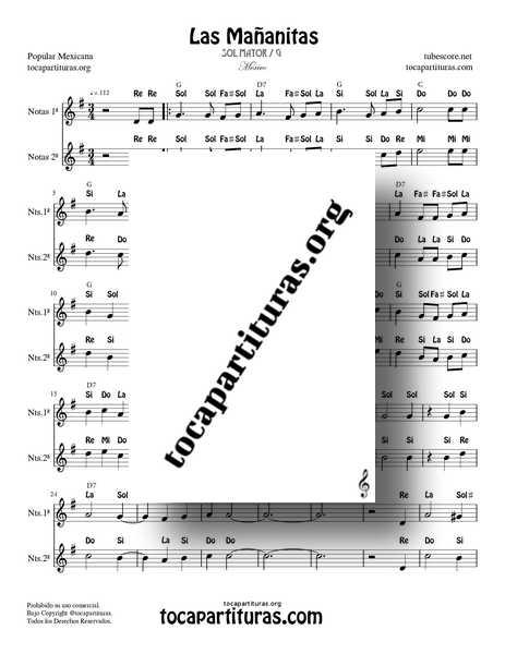 Las Mañanitas Partitura con Notas Dúo de Flauta, Violín, Oboe... en SOL Mayor con Acordes (1ª y 2ª voz)