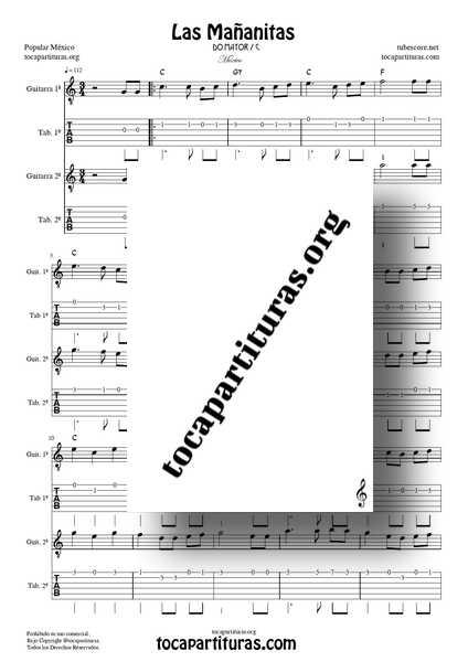Las Mañanitas Partitura y Tablatura Dúo de Guitarra DO MAYOR (1ª y 2ª) a dos voces Tabs