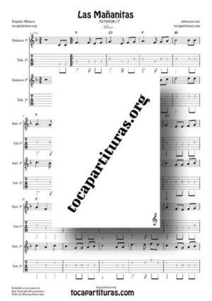 Las Mañanitas Partitura y Tablatura Completa Dúo Punteo de Guitarra en FA Mayor