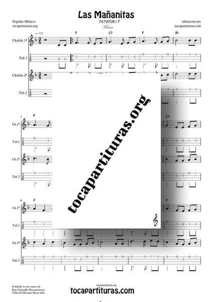 Las Mañanitas Partitura y Tablatura Dúo de Ukelele Fa M (1ª y 2ª) a dos voces Tabs