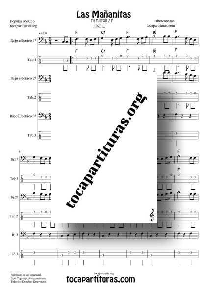 Las Mañanitas Partitura y Tablatura Dúo Trío de Bajo Eléctrico Fa M (1ª y 2ª voz con Bajo) con Números y Pentagrama
