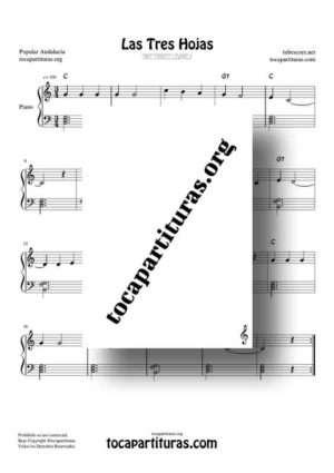 Las Tres Hojas Partitura de Piano Muy Fácil