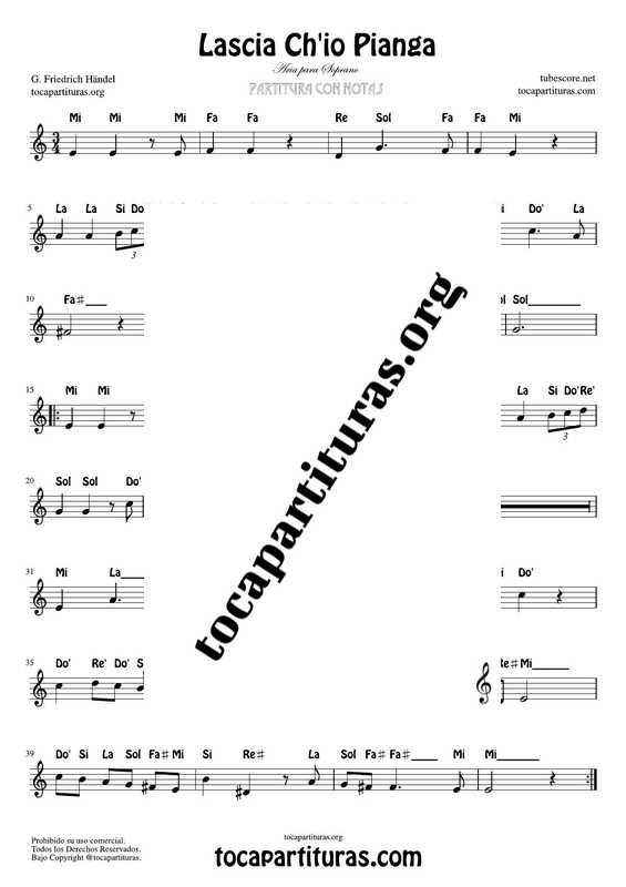 Lascia Chio Pianga Partitura Fácil con Notas de Flauta Violín Oboe