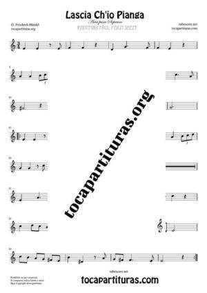 Lascia Ch'io Pianga de Handel Partitura de Violín