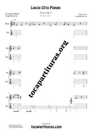 Lascia Ch'io Pianga de Handel Partitura y Tablatura de Banjo