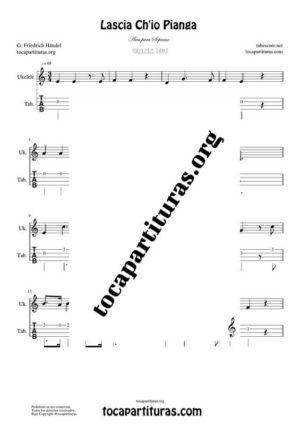 Lascia Ch'io Pianga de Handel Partitura y Tablatura de Ukelele