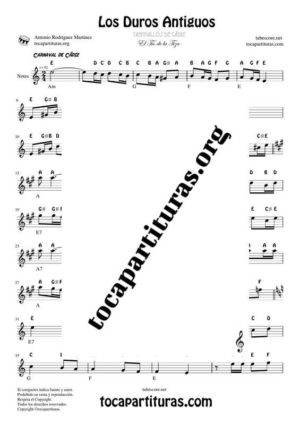 Los Duros Antiguos Notes Sheet Music for Treble Clef (Violín, Oboe, Flute, Recorder…)