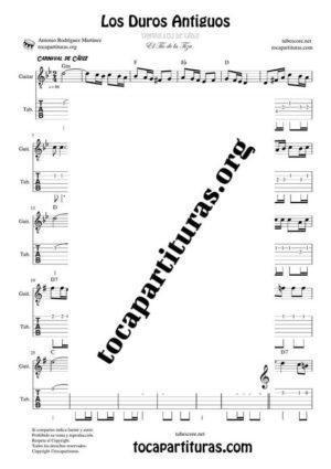 Los Duros Antiguos Partitura y Tablatura de Guitarra en Sol menor (Tab)