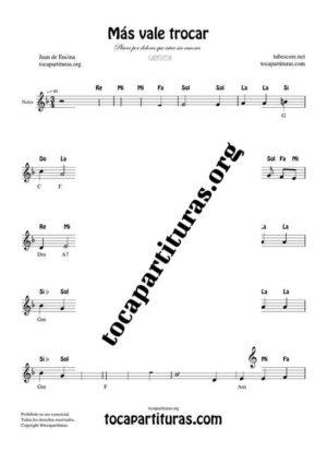 Más vale trocar Partitura con Notas en Clave de Sol (Cantata)