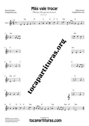 Más vale trocar Partitura de Flauta Dulce y/o de Pico (Recorder)