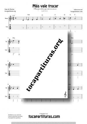 Más vale trocar Partitura Tablatura del Punteo de Banjo (Tabs)