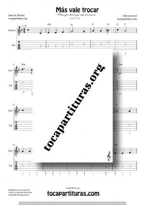 Más vale trocar Partitura Tablatura del Punteo de Guitarra (Guitar Tabs)