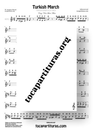 Marcha Alla Turca by Mozart Easy Notes Sheet Music Treble Clef