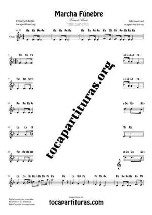 Marcha Fúnebre de Chopin Partitura con Notas en letra en Clave de Sol (Flauta, Violin, Oboe, Trompeta, Clarinete…)