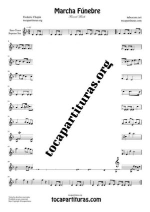 Marcha Fúnebre de Chopin Partitura de Saxofón Tenor / Soprano Sax Si bemol (B Flat Saxophone)