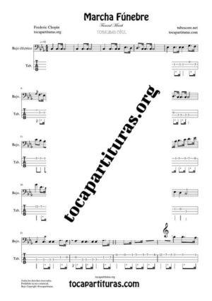Marcha Fúnebre de Chopin Partitura y Tablatura del Punteo de Bajo Eléctrico (Electric Bass Tabs)