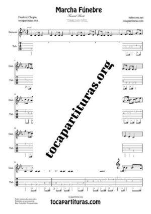 Marcha Fúnebre de Chopin Partitura y Tablatura del Punteo de Guitarra (Guitar Tabs)