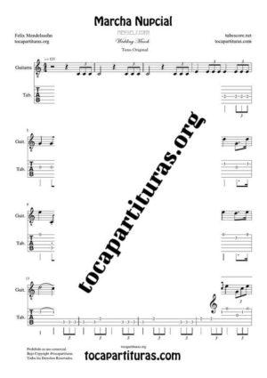 Marcha Nupcial de Mendelssohn Partitura y Tablatura del Punteo de Guitarra (Guitar Tabs) Tono Original