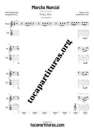 Marcha Nupcial de Mendelssohn Partitura y Tablatura de Banjo (Tabs) Tono Original