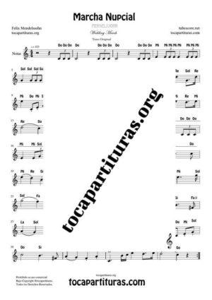 Marcha Nupcial de Mendelssohn Partitura Fácil con Notas en letra en Clave de Sol (Tono Original)