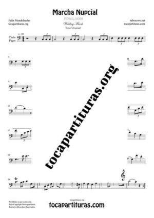 Marcha Nupcial de Mendelssohn Partitura de Chelo / Fagot (Cello/Bassoon) Tono Original