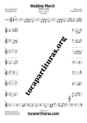 Marcha Nupcial de Mendelssohn Partitura de Solfeo (Entonación y Ritmo) Tono Original
