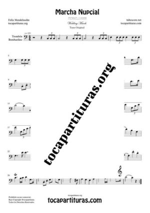 Marcha Nupcial de Mendelssohn Partitura de Trombón / Bombardino (Trombone / Euphonium) Tono Original