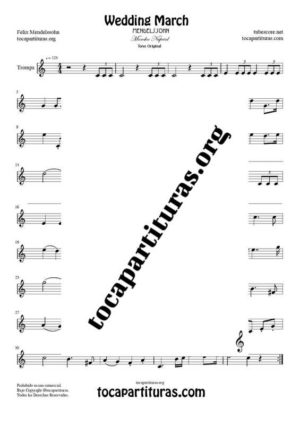 Marcha Nupcial de Mendelssohn Partitura de Trompa (French Horn) Tono Original