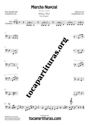 Marcha Nupcial de Mendelssohn Partitura de Tuba / Contrabajo (Contrabass) Tono Original