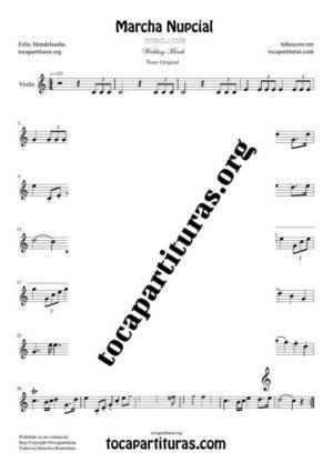 Marcha Nupcial de Mendelssohn Partitura de Violín Tono Original