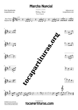 Marcha Nupcial de Mendelssohn Partitura de Saxofón Tenor / Soprano Sax Si bemol (B Flat Saxophone) Partitura Fácil