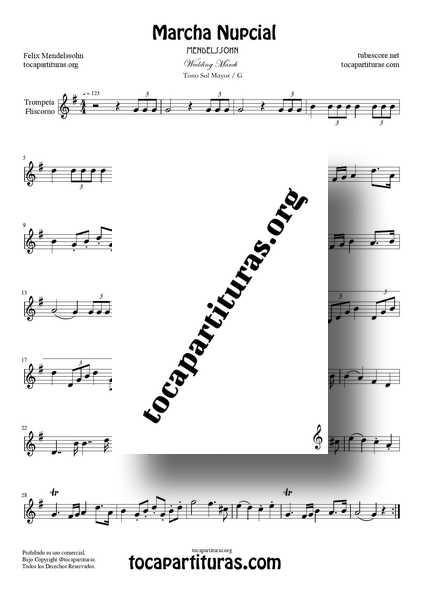 Marcha Nupcial PDF MIDI KARAOKE MP3 de Mendelssohn Sol Mayor Partitura de Trompeta y Fliscorno