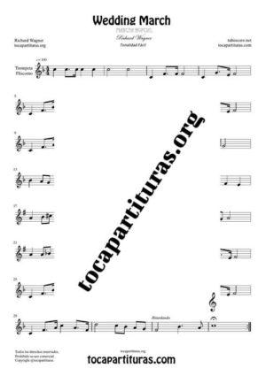 Marcha Nupcial de Wagner (Bridal Chorus) Partitura de Trompeta / Fliscorno Tono Fácil (Trumpet / Flugelhorn)