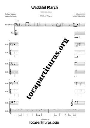 Marcha Nupcial de Wagner (Bridal Chorus) Partitura y Tablatura del Punteo de Bajo Eléctrico (Electric Bass Tabs)