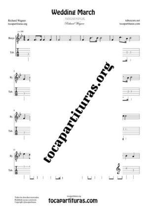 Marcha Nupcial de Wagner (Bridal Chorus) Partitura y Tablatura de Banjo (Tabs) Tono Fácil
