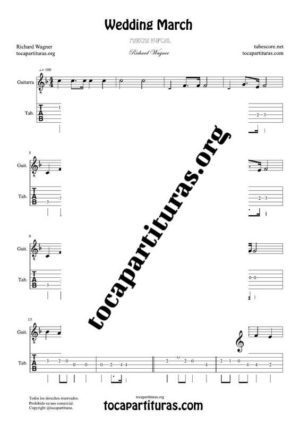 Marcha Nupcial de Wagner (Bridal Chorus) Partitura y Tablatura del Punteo de Guitarra (Guitar Tabs)