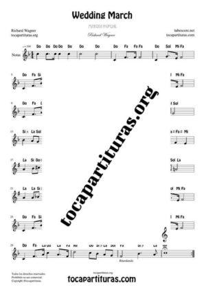 Marcha Nupcial de Wagner (Bridal Chorus) Partitura Fácil con Notas en letra en Clave de Sol (Tono Original)
