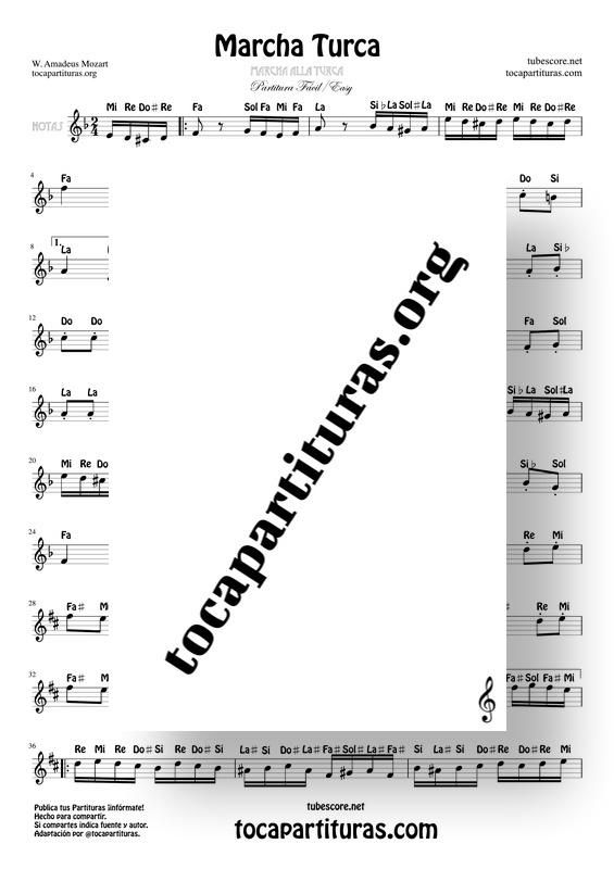 Marcha Turca de Mozart Partitura Fácil con Notas