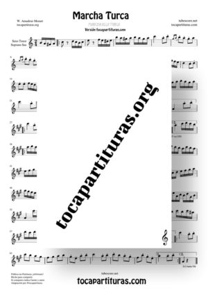 Marcha Turca Partitura de Saxofón Tenor y Saxofón Soprano