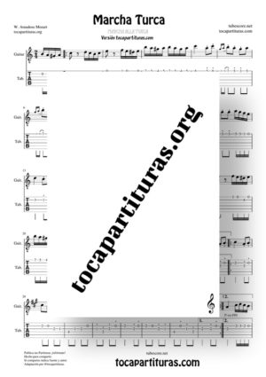 Marcha Turca Partitura y Tablatura de Guitarra