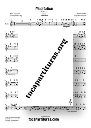 Meditation by Thais Notes Sheet Music for Treble Clef (Violín, Oboe, Flute, Recorder…)