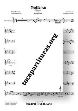 Meditation de Thais Partitura de Flauta Dulce o Flauta de Pico (Recorder) Tonalidad Fácil