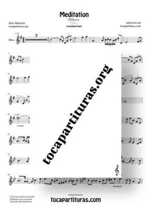 Meditation de Thais Partitura de Oboe (Tonalidad Fácil)