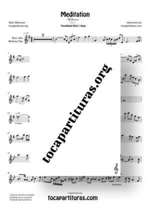 Meditation de Thais Partitura de Saxofón Alto / Saxo Barítono Tonalidad Fácil