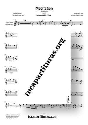 Meditation de Thais Partitura de Saxofón Tenor / Soprano Sax Tonalidad Fácil