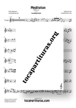 Meditation de Thais Partitura de Trompa (French Horn) Tonalidad Fácil