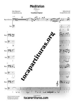 Meditation de Thais Partitura y Tablatura de Bajo Eléctrico Punteo (Electric Bass Tabs) Tonalidad Fácil
