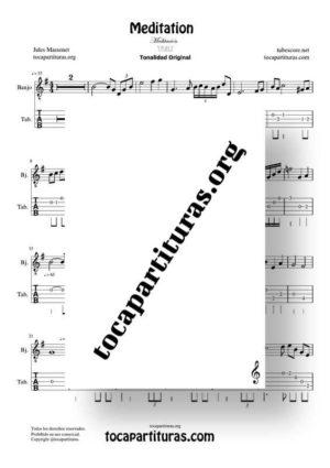 Meditation de Thais Partitura y Tablatura de Banjo (Tabs) Tonalidad Fácil